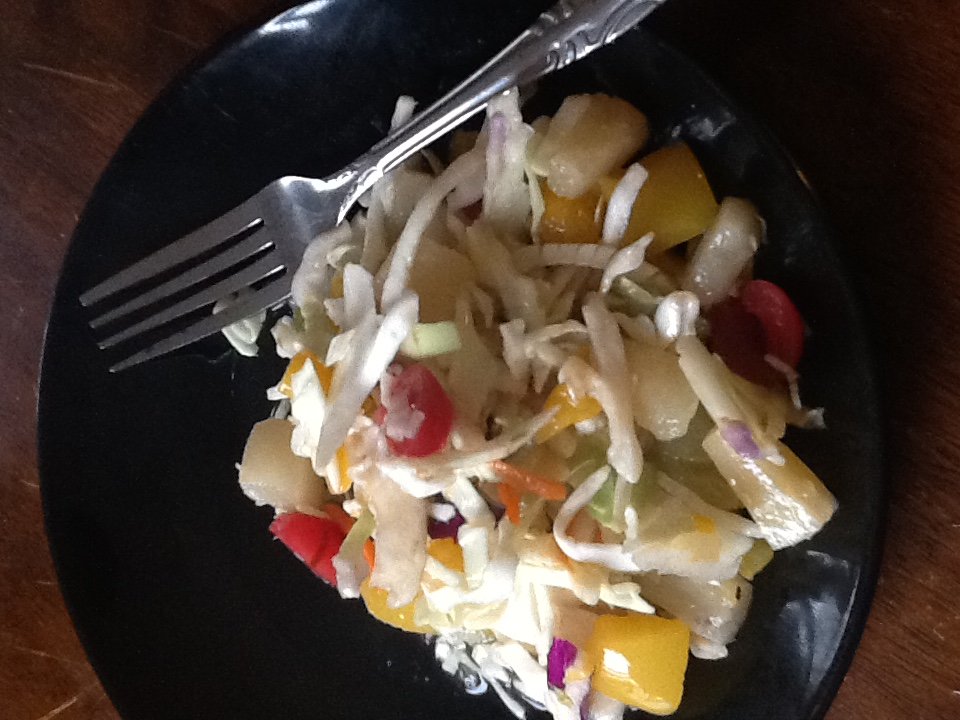 mixed fruit coleslaw with kraft mango chipotle dressing